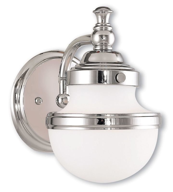 Livex lighting 5711 05 polished chrome oldwick 1 light for Chrome bathroom sconce with shade