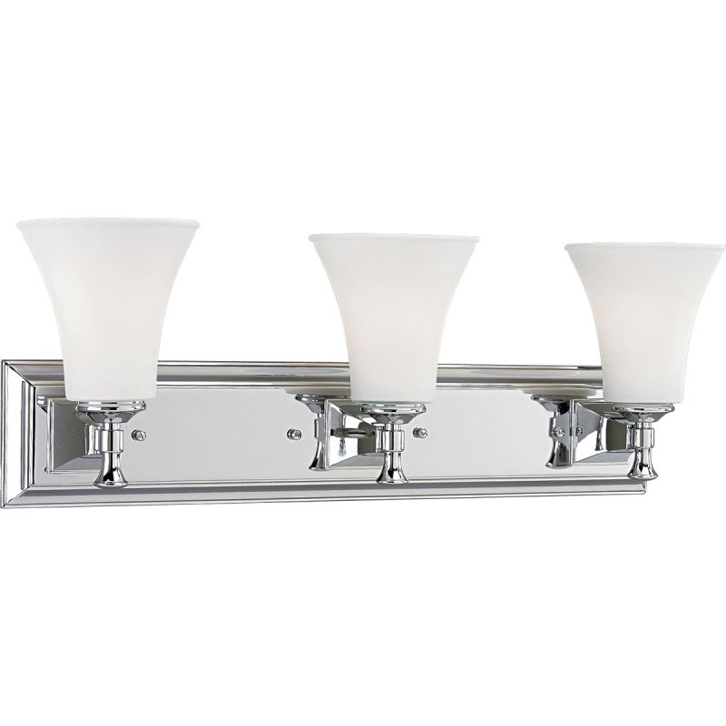 Progress Lighting P3133-15 Polished Chrome Fairfield Three-Light Bathroom Fixture with Conical ...