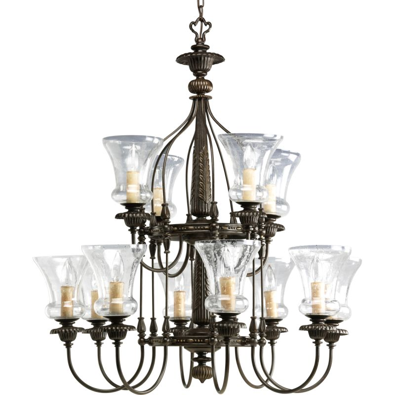 Progress Lighting P4411 77 Forged Bronze Fiorentino Twelve Light Two Tier Cha