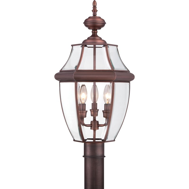 "Murray Feiss Post Base: Quoizel NY9043A Antique Brass Newbury 3 Light 23"" Tall"