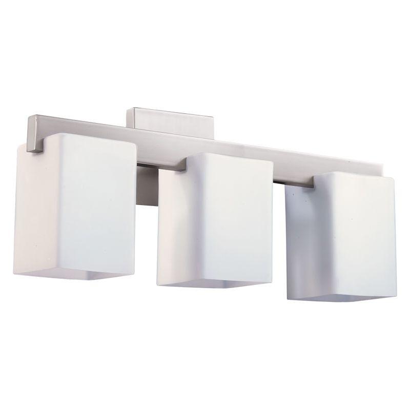 Quorum Vanity Lights : Quorum International 5076-3-65 Satin Nickel Modus 3 Light Bathroom Vanity Light - LightingDirect.com