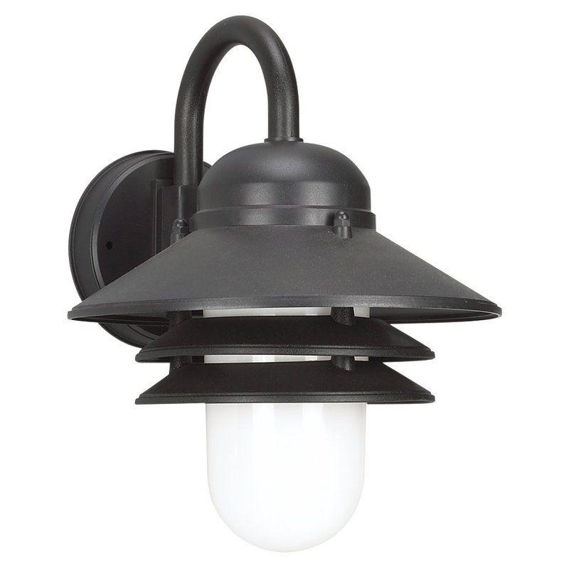 Wall Sconce Barn Light : Sea Gull Lighting 83055-12 Black Outdoor Wall 1 Light Barn Light Wall Sconce - LightingDirect.com