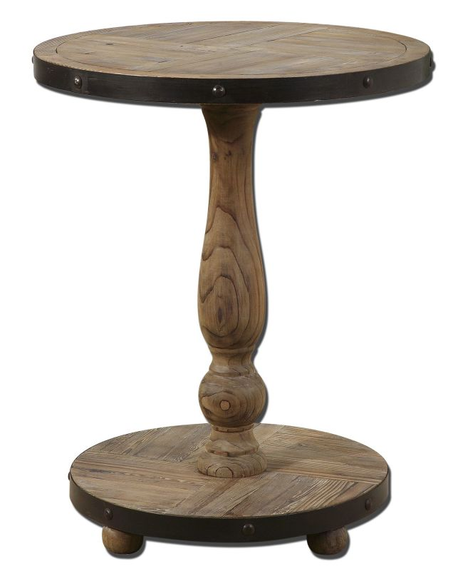 Uttermost 24268 natural wood kumberlin round table for Natural wood round table
