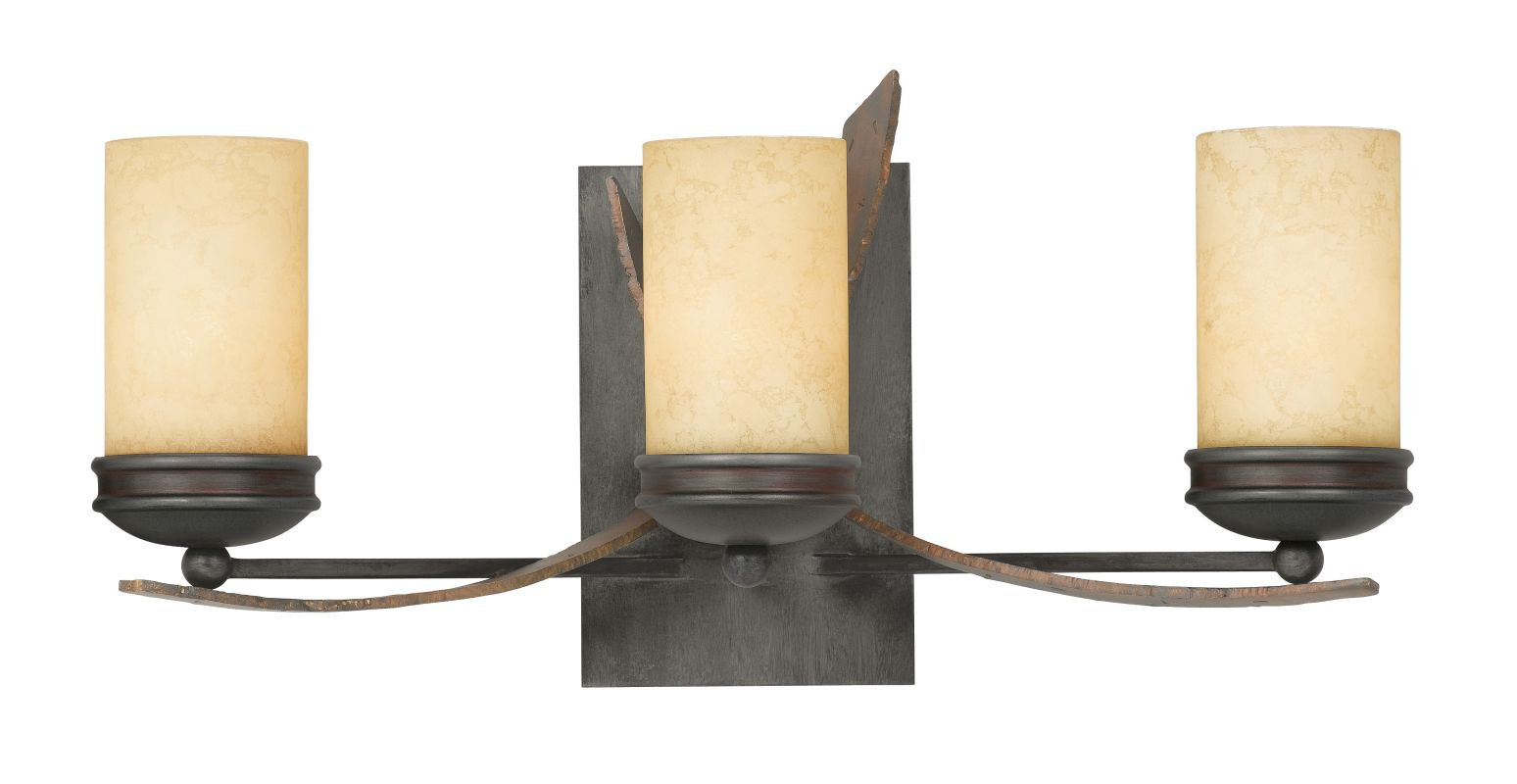 creamy etched glass 3 light bathroom vanity fixture with hand forged