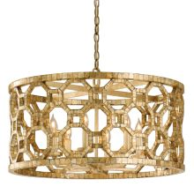 Regatta 6 Light Drum Chandelier with Hand Crafted Iron Frame and Smoked Capiz Shell Mosaic Plating