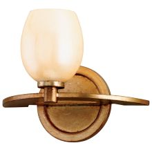 Cirque 1 Light Bathroom Wall Sconce with Hand Crafted Iron Frame and Antique Pearl Glass Shade