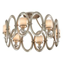 6 Light Hand Crafted Iron Ring Semi Flush Mount Ceiling Fixture with White Pearl Glass from the Embrace Collection