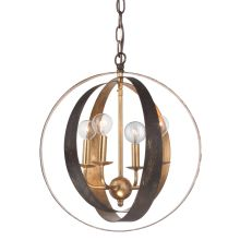 "Luna 4 Light 16"" Wide Wrought Iron Pendant"