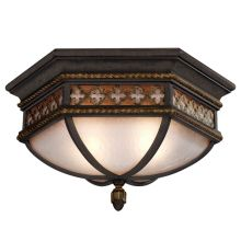 "Chateau Outdoor 21"" Diameter Two-Light Outdoor Flush Mount Ceiling Fixture with Gold Accents and Antiqued Glass"