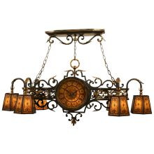 Epicurean 6+1-Light Single-Tier Linear Chandelier with Double-Sided Working Clock and Hand-Decorated Mica Shades