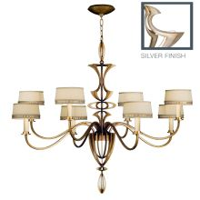Staccato Silver Eight-Light Single-Tier Chandelier with Cream Crosshatch Linen Shades