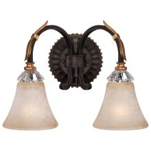 "2 Light 15.5"" Width Bathroom Vanity Light from the Bella Cristallo Collection"