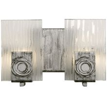 2 Light Bathroom Fixture Made of Recycled Steel and Glass