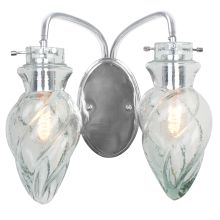 2 Light Bath Fixture with Artisanal Hand-Worked Chrome and Recycled Small Spiral Glass from the Vintage Collection