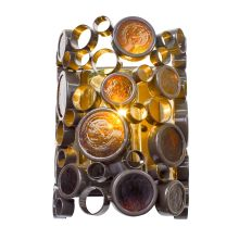 1 Light Small Outdoor Wall Sconce with Glossy Bronze Finish and Recycled Amber Bottle Glass from the Fascination Collection