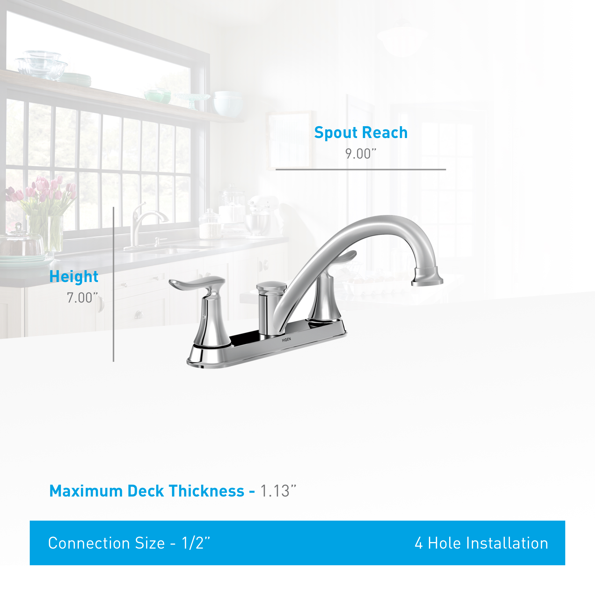 Moen 87302 Chrome Kitchen Faucet With Side Spray From The