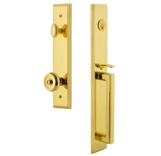 Grandeur 844755 Lifetime Brass Carre Solid Brass Rose Keyed Entry Single Cylinder Full Plate D Grip Handleset With Bouton Knob And 2 3 8 Backset