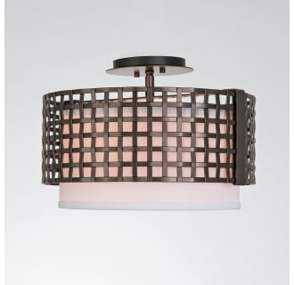 Hammerton Studio Clb0037 14 Fb Sh E2 Flat Bronze Tweed 2 Light 15 Wide Semi Flush Drum Ceiling Fixture Medium E26 With White Linen Inner And Finished To Match Metal Outer Shade