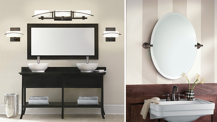 mirrors give the appearance of a larger bathroom