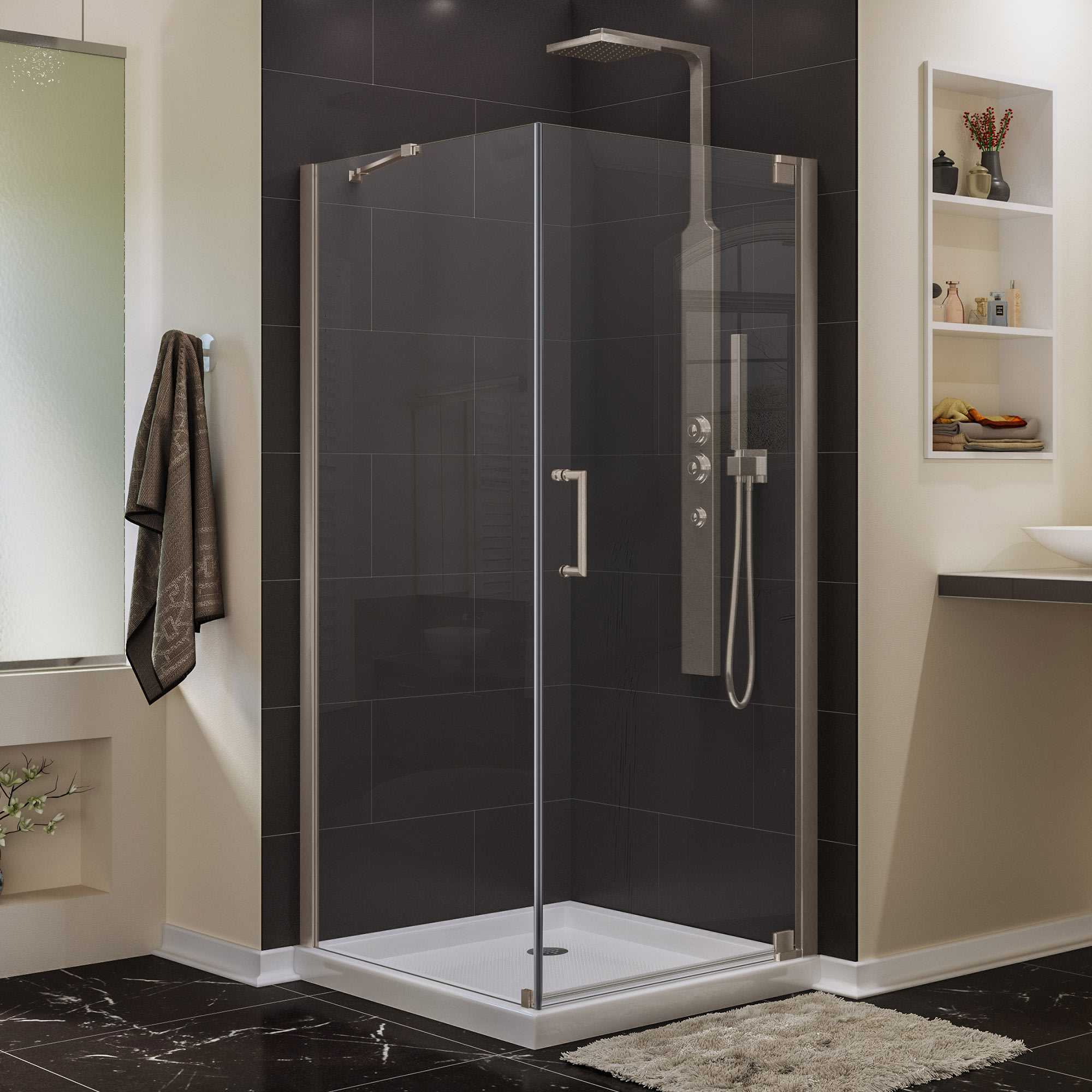 H Frameless Pivot Shower Door In Oil Rubbed Bronze W X 72 In