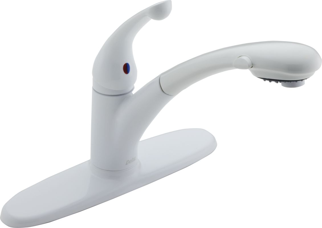 Delta Kitchen Faucets Warranty Faucetcom 470 Wh Dst In White By Delta