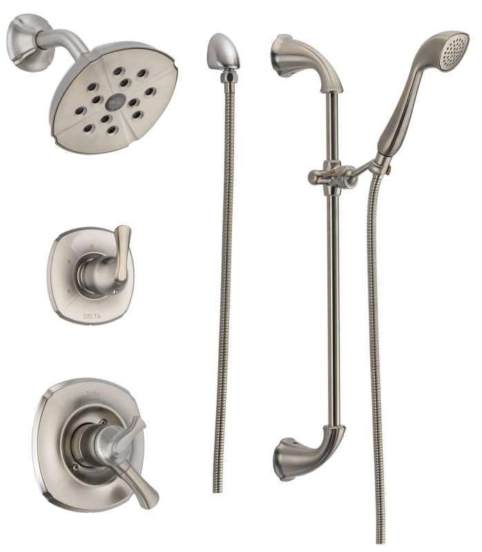 Dss addison 1701ss in brilliance stainless by delta for Delta bathroom shower systems