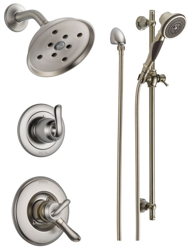Dss linden 1701ss in brilliance stainless by delta for Delta bathroom shower systems