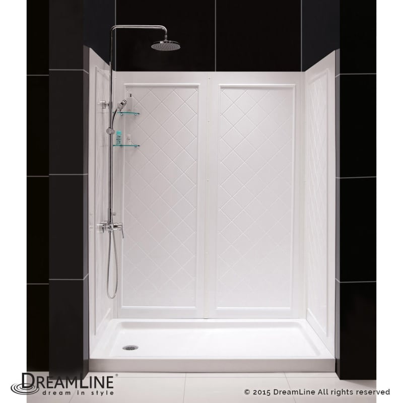 Faucet.com   DL-6192R-01 in White / Right Drain by DreamLine