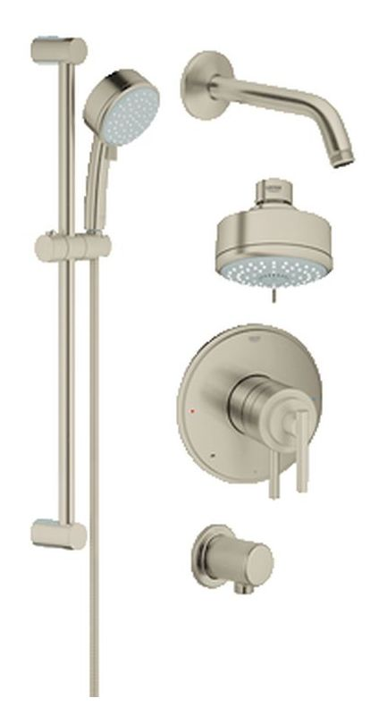 brushed nickel tub and shower faucet set.  Faucet com 35055EN0 in Brushed Nickel by Grohe