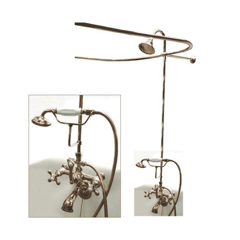 Brass Clawfoot Tub Shower Kit.  Faucet com CCK1148AX in Satin Nickel by Kingston Brass