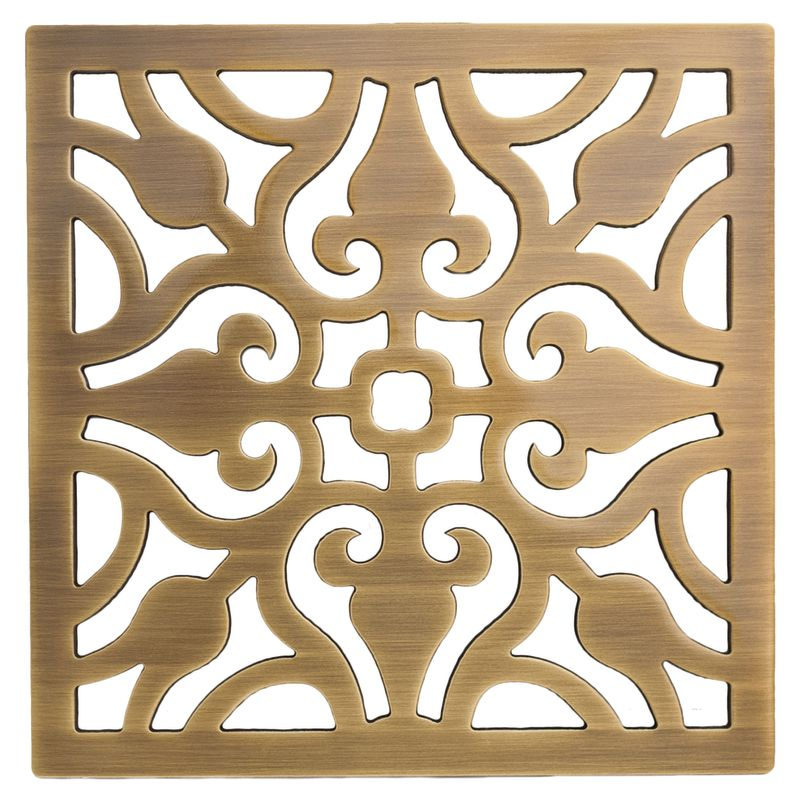 Faucetcom In Antique Brass By Newport Brass - Decorative square shower drain cover