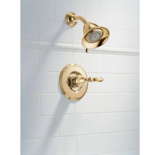 Delta-T14255-LHP-Installed Shower Trim in Brilliance Brass