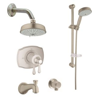 grohe starlight chrome authentic shower system with shower head handshower slide bar wall supply
