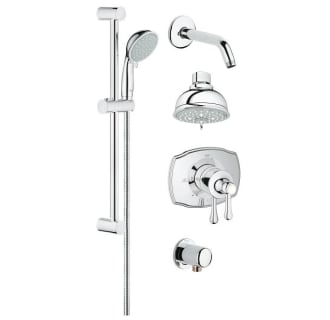 grohe starlight chrome grohflex pressure balanced shower system includes trim shower head hand shower shower arm hose and wall supply