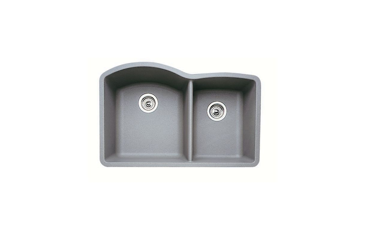 Blanco 440178 metallic gray diamond 32 double basin for Silgranit ii sinks