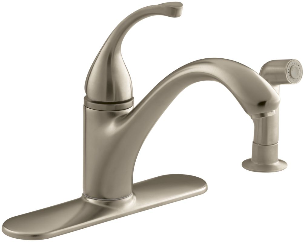 Kohler K 10412 Bv Brushed Bronze Single Handle Kitchen Faucet With Side Spray From The Forte