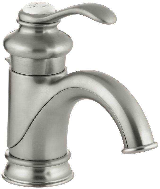 Kohler k 12182 bn brushed nickel fairfax single hole bathroom faucet free metal pop up drain for Kohler bathroom single hole faucets