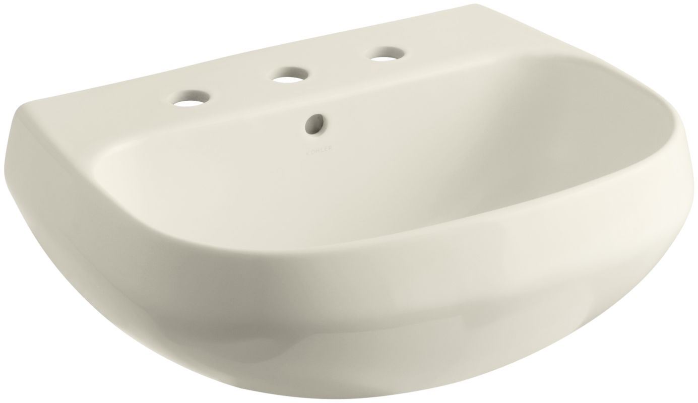 Kohler K 2296 8 47 Almond Wellworth 20 Pedestal Bathroom Sink With 3 Holes Drilled And Overflow