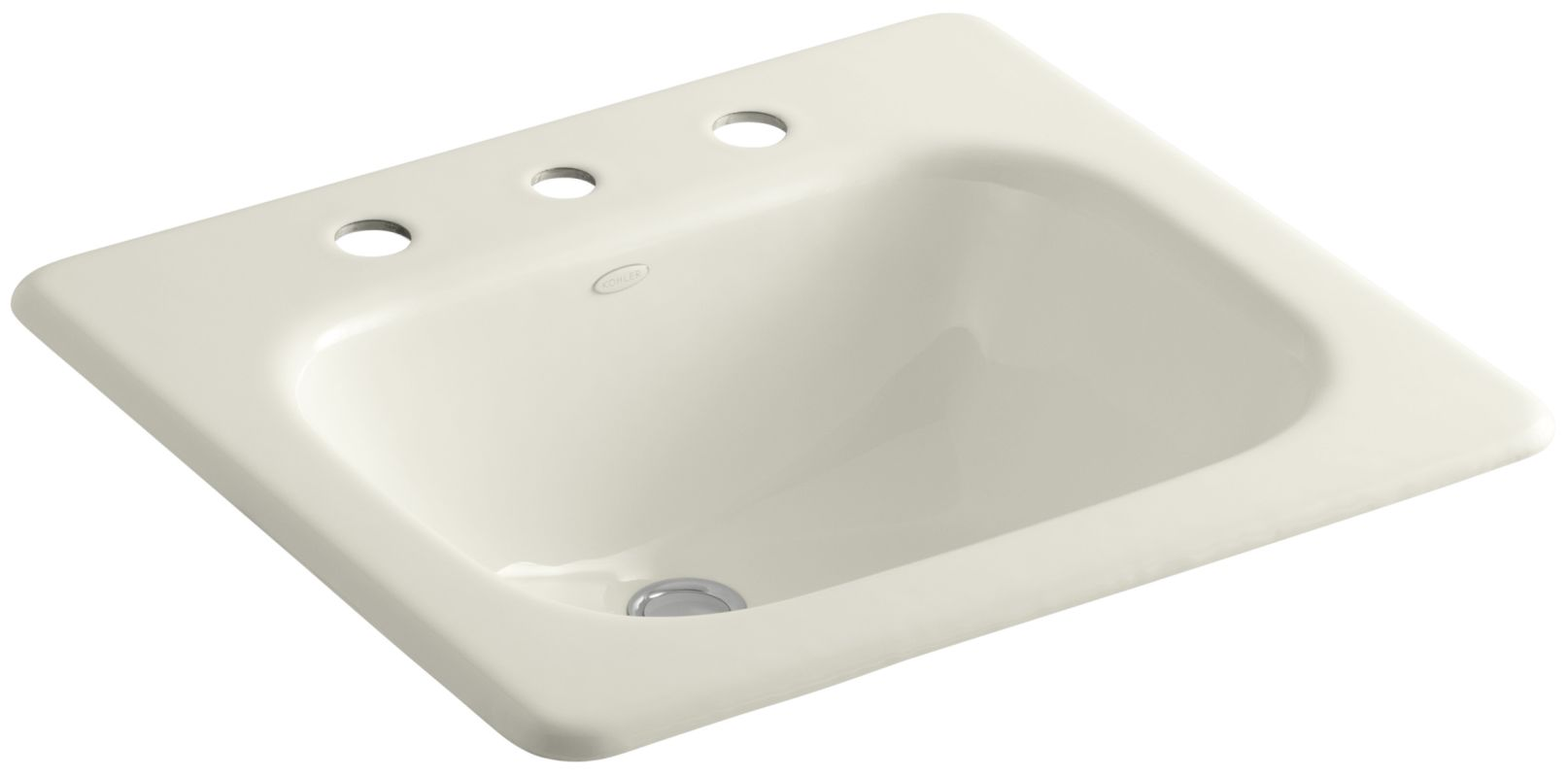 Kohler K 2895 8 96 Biscuit Tahoe 16 Cast Iron Drop In Bathroom Sink With 3 Holes Drilled And