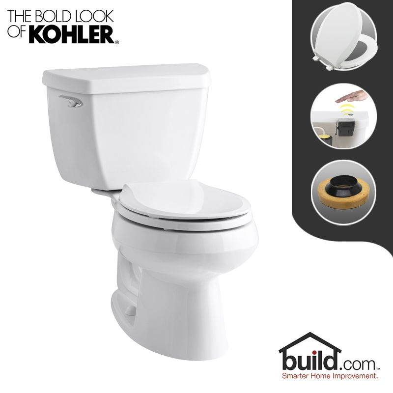 Kohler K 3577 0 Touchless White Wellworth 1 28 Gpf Round