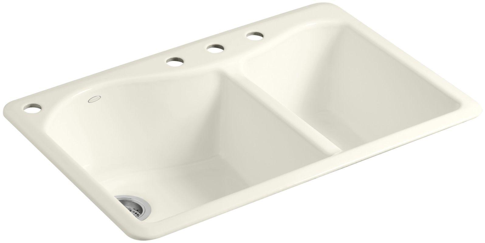 Undermount Kitchen Sink With Faucet Holes Kohler K 5841 4 96 Biscuit Lawnfield 33 Quot Double Basin Top