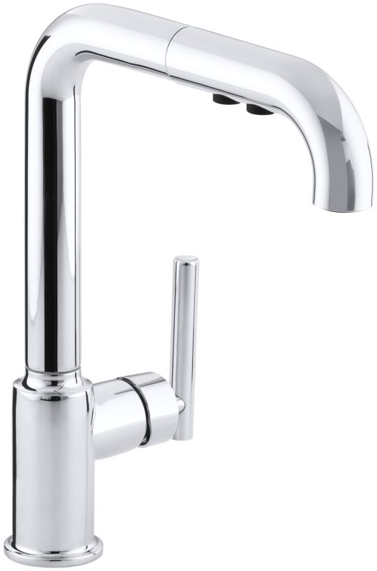 Kohler K 7505 Cp Polished Chrome Single Handle Pullout Spray Kitchen Faucet From The Purist