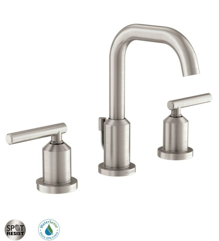 Moen 84229srn Spot Resist Brushed Nickel Widespread Bathroom Faucet With Pop Up Drain Assembly
