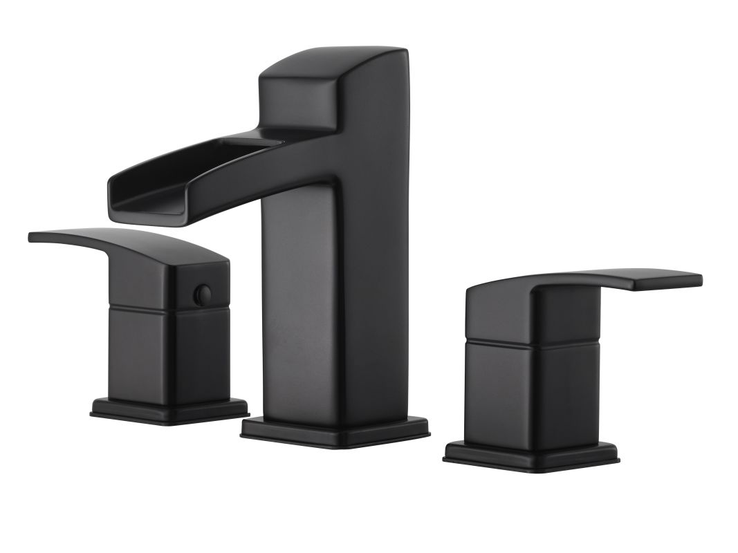 pfister lg49 df0b black kenzo widespread bathroom faucet with metal pop up