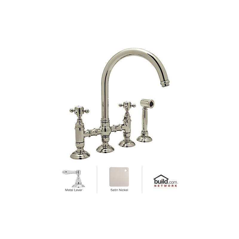 Rohl A1461lmwsstn 2 Satin Nickel Country Kitchen Bridge Faucet With Side Spray And Metal Lever
