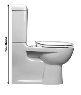 toilet height is measured vertically from the floor to the highest point on the toilet