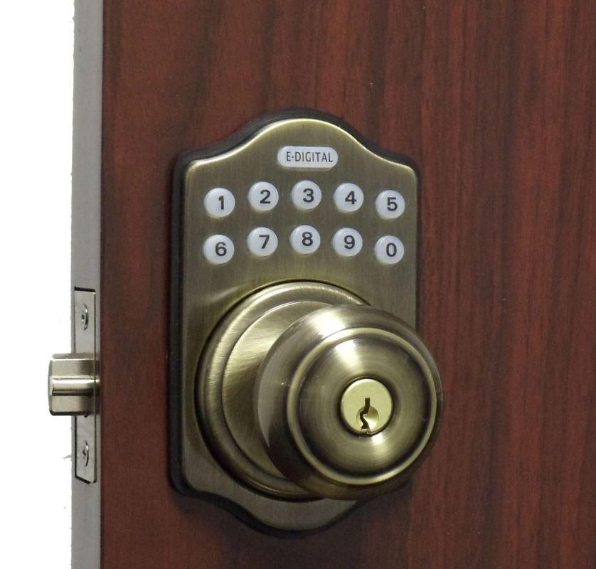 Lockey E 930ab R Antique Brass Electronic Keypad Knob