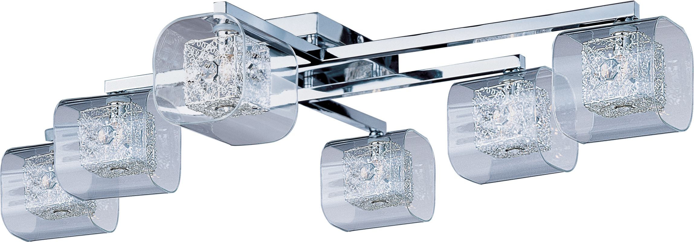 ET2 E22836-18PC Polished Chrome Gem 6-Bulb Flush Mount Indoor Ceiling Fixture - Glass Shade ...