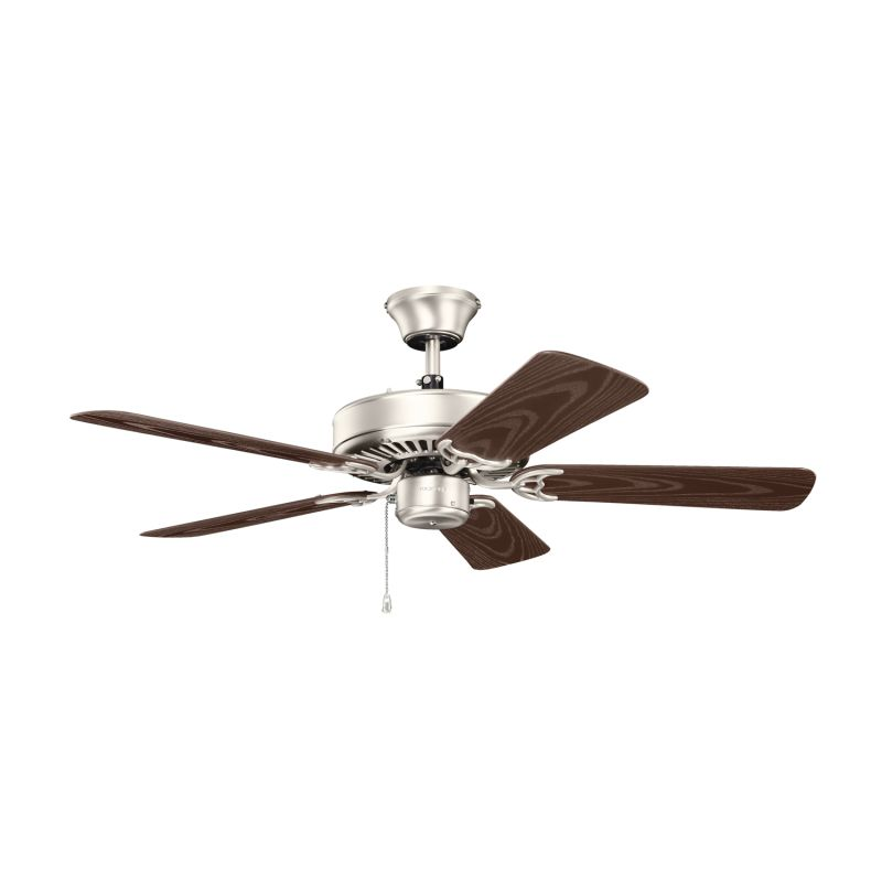 """Ceiling Fan 42 High Quality With Light: Kichler 414NI Brushed Nickel 42"""" Indoor Ceiling Fan With"""