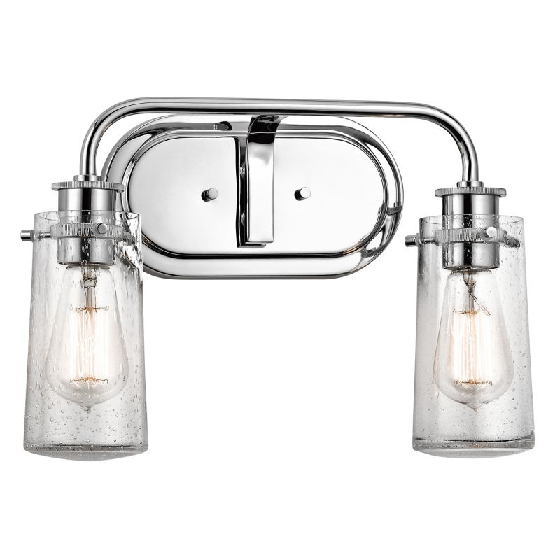 kichler bathroom lighting fixtures kichler 45458ch chrome braelyn 2 light 15 quot wide vanity 18959